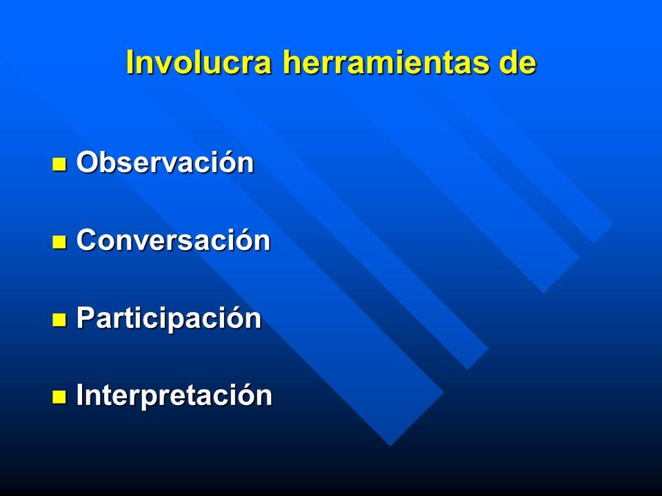 Involucra herramientas de Observación Observación Conversación Conversación Participación Participación Interpretación Interpretación
