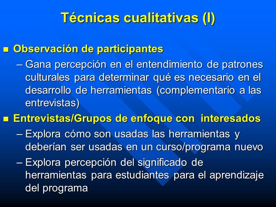 Técnicas cualitativas (I) Observación de participantes Observación de participantes –Gana percepción en el entendimiento de patrones culturales para d