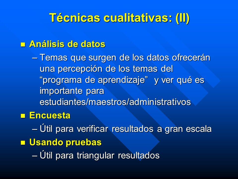 Técnicas cualitativas: (II) Análisis de datos Análisis de datos –Temas que surgen de los datos ofrecerán una percepción de los temas del programa de a