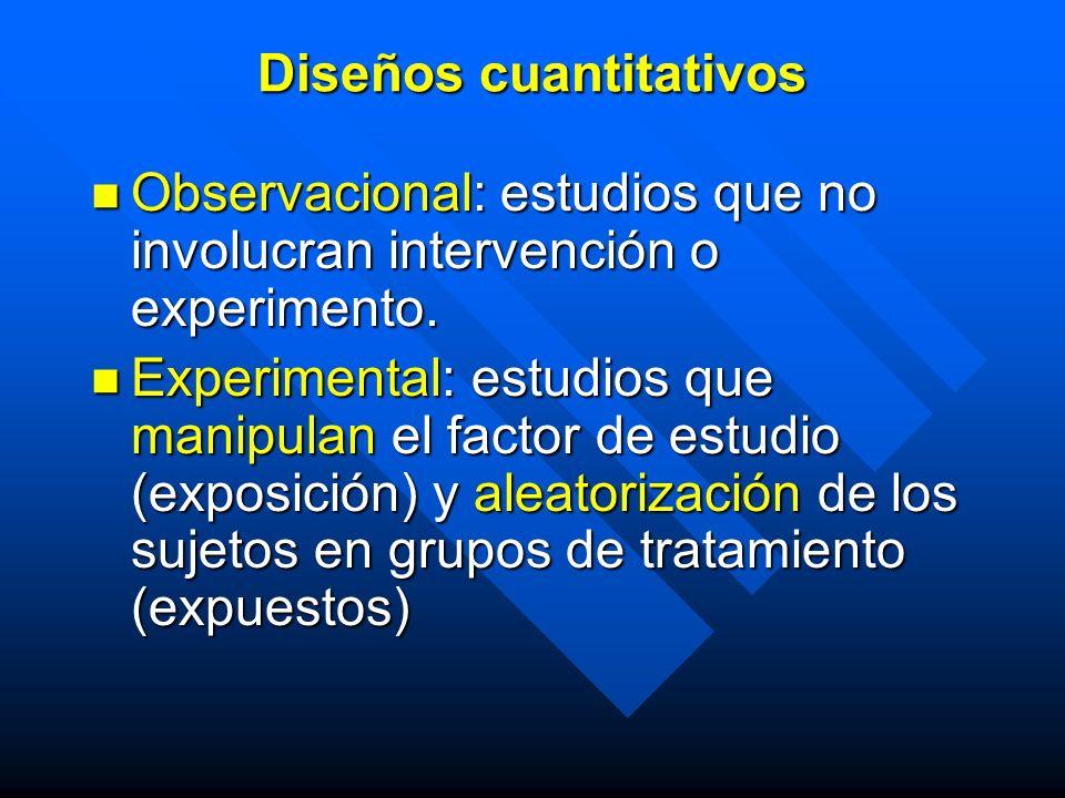 Observacional: estudios que no involucran intervención o experimento. Observacional: estudios que no involucran intervención o experimento. Experiment