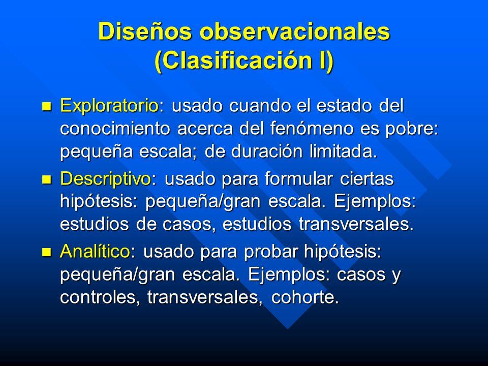 Diseños observacionales (Clasificación I) Exploratorio: usado cuando el estado del conocimiento acerca del fenómeno es pobre: pequeña escala; de durac