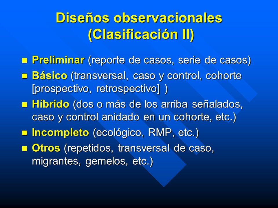 Diseños observacionales (Clasificación II) Preliminar (reporte de casos, serie de casos) Preliminar (reporte de casos, serie de casos) Básico (transve