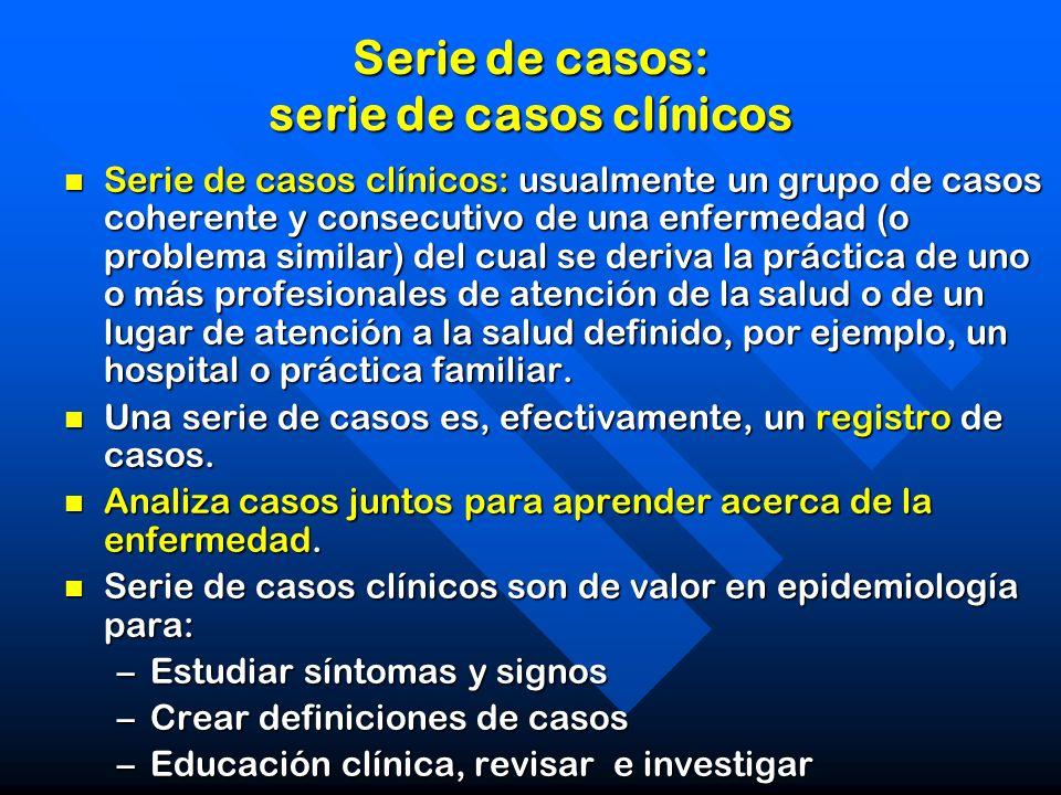 Serie de casos: serie de casos clínicos Serie de casos clínicos: usualmente un grupo de casos coherente y consecutivo de una enfermedad (o problema si