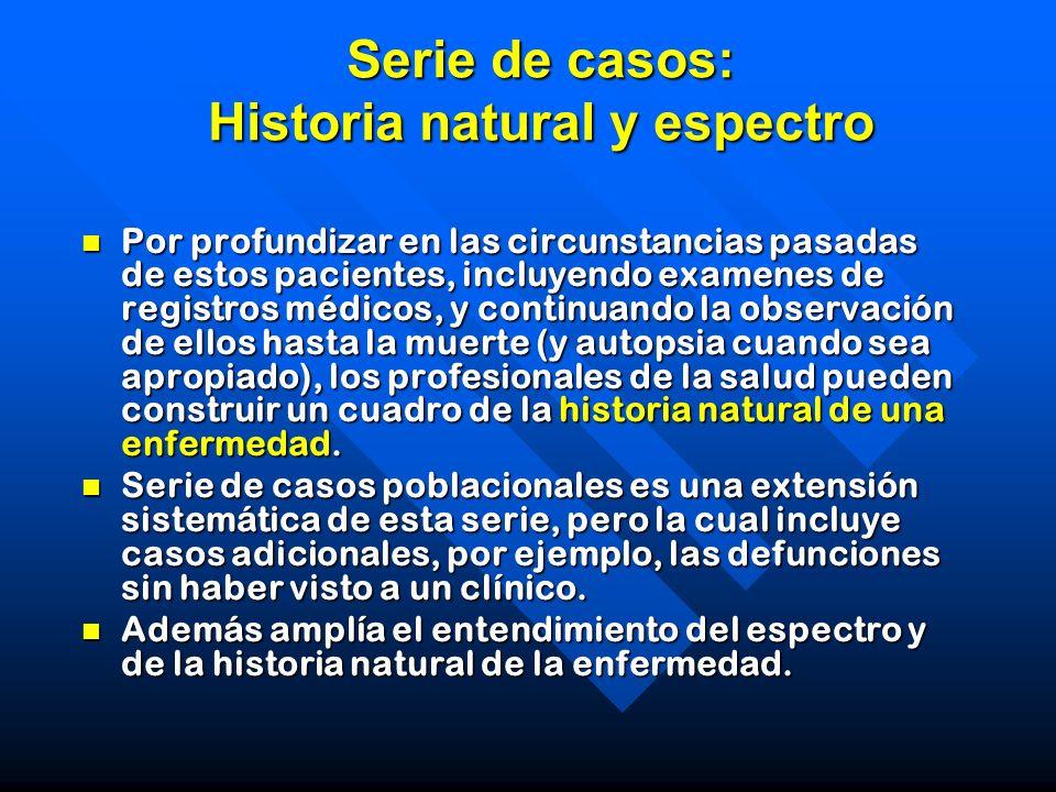 Serie de casos: Historia natural y espectro Por profundizar en las circunstancias pasadas de estos pacientes, incluyendo examenes de registros médicos