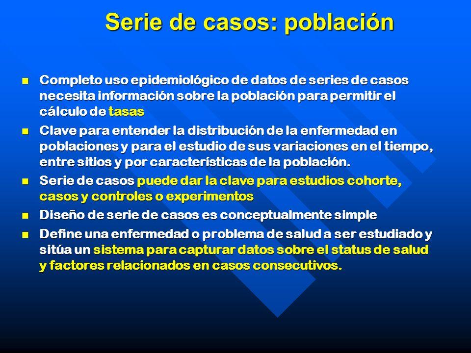 Serie de casos: población Completo uso epidemiológico de datos de series de casos necesita información sobre la población para permitir el cálculo de