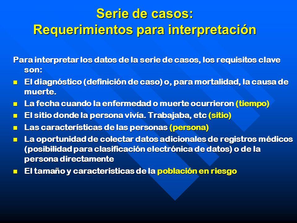 Serie de casos: Requerimientos para interpretación Para interpretar los datos de la serie de casos, los requisitos clave son: El diagnóstico (definici