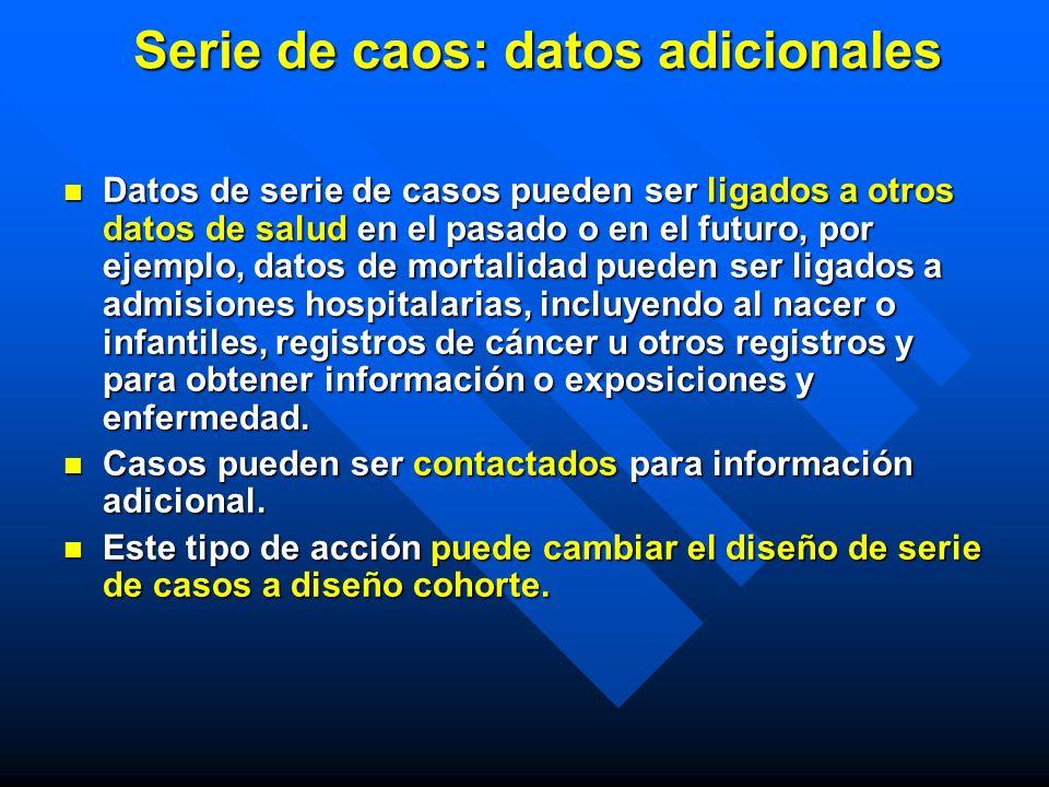 Serie de caos: datos adicionales Datos de serie de casos pueden ser ligados a otros datos de salud en el pasado o en el futuro, por ejemplo, datos de
