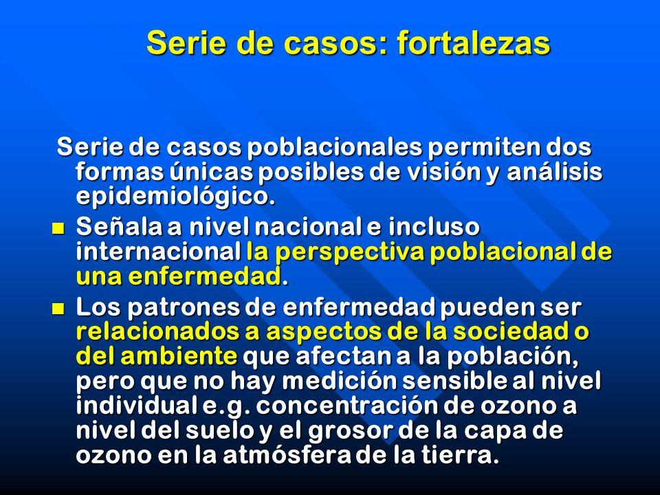 Serie de casos: fortalezas Serie de casos poblacionales permiten dos formas únicas posibles de visión y análisis epidemiológico. Serie de casos poblac
