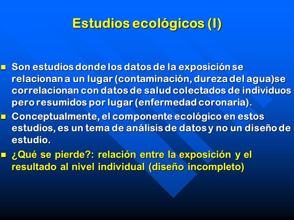 Estudios ecológicos (I) Son estudios donde los datos de la exposición se relacionan a un lugar (contaminación, dureza del agua)se correlacionan con da