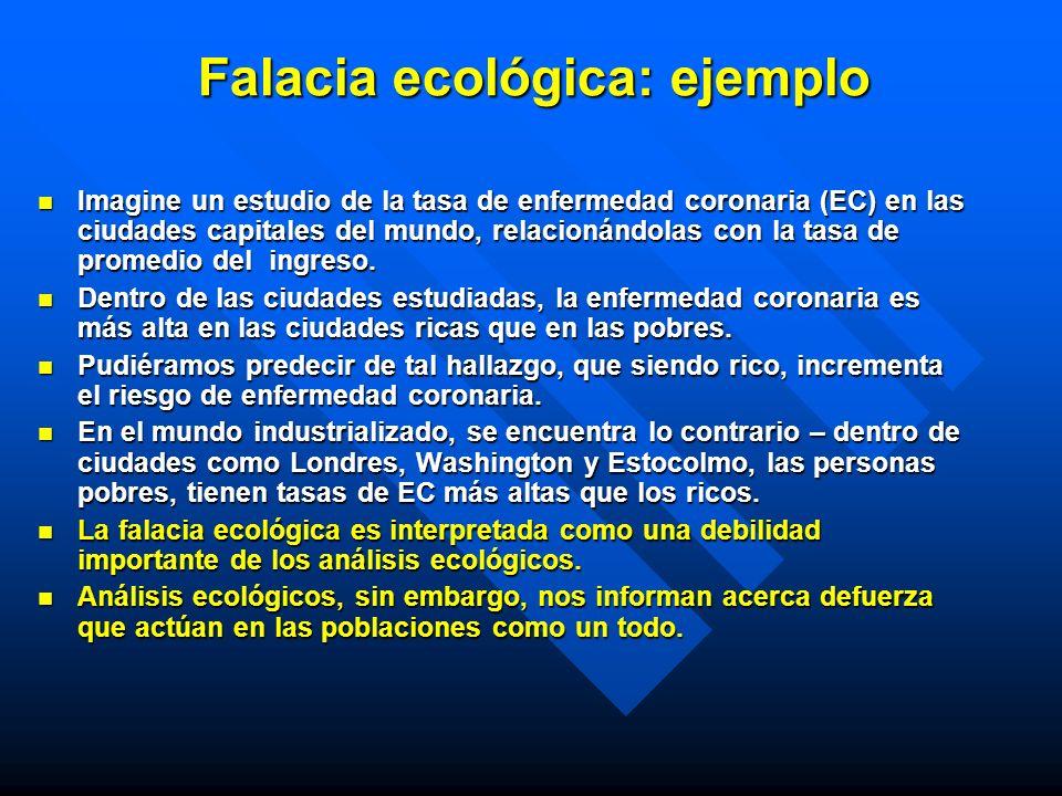 Falacia ecológica: ejemplo Imagine un estudio de la tasa de enfermedad coronaria (EC) en las ciudades capitales del mundo, relacionándolas con la tasa