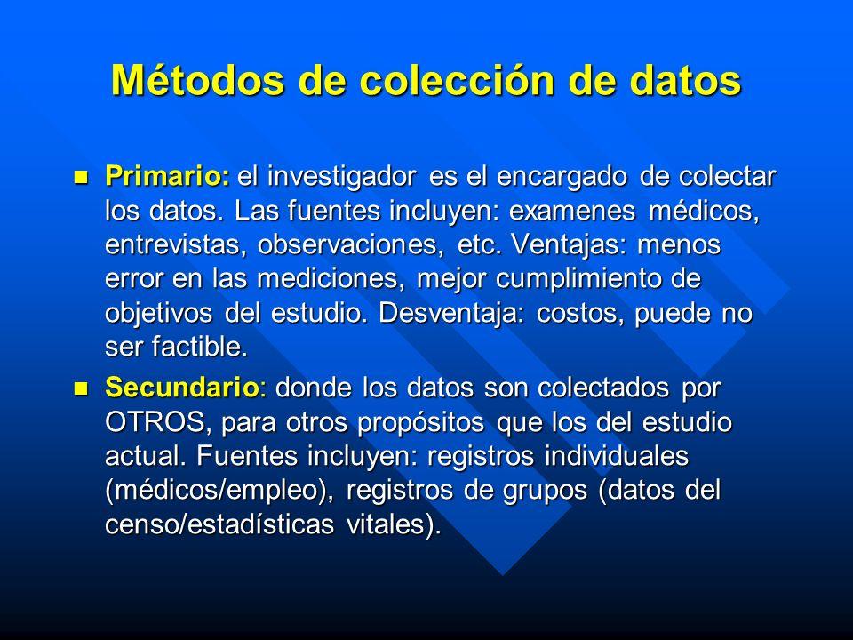 Métodos de colección de datos Primario: el investigador es el encargado de colectar los datos. Las fuentes incluyen: examenes médicos, entrevistas, ob