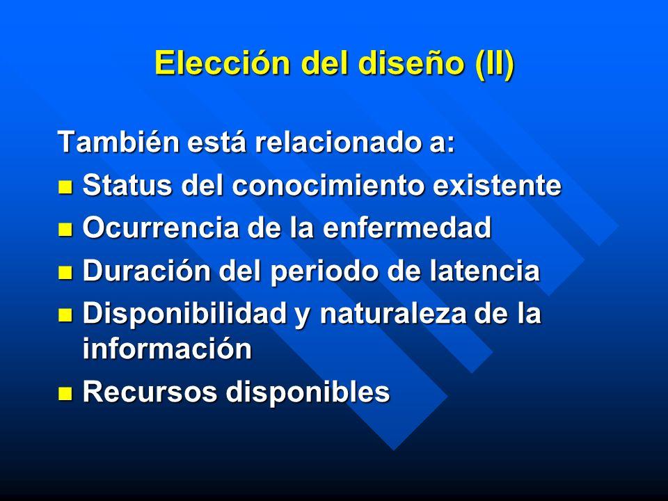 Elección del diseño (II) También está relacionado a: Status del conocimiento existente Status del conocimiento existente Ocurrencia de la enfermedad O