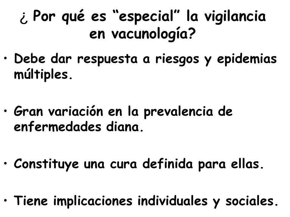 ¿ Por qué es especial la vigilancia en vacunología? Debe dar respuesta a riesgos y epidemias múltiples. Gran variación en la prevalencia de enfermedad