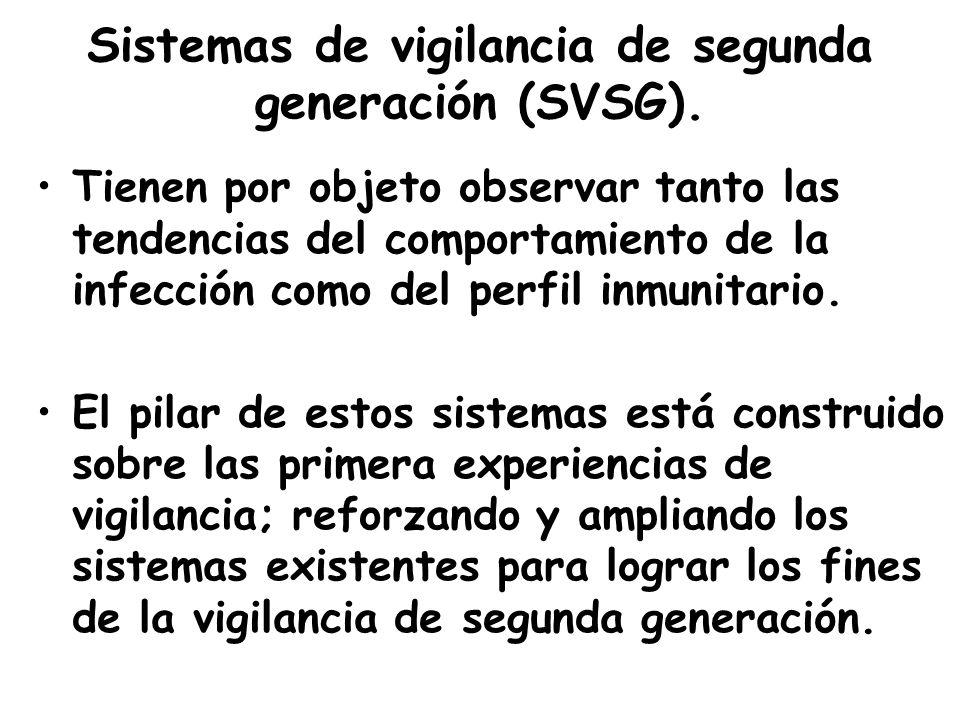 Sistemas de vigilancia de segunda generación (SVSG). Tienen por objeto observar tanto las tendencias del comportamiento de la infección como del perfi