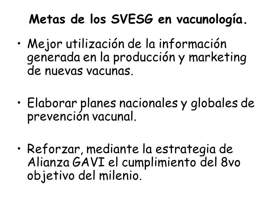 Metas de los SVESG en vacunología. Mejor utilización de la información generada en la producción y marketing de nuevas vacunas. Elaborar planes nacion