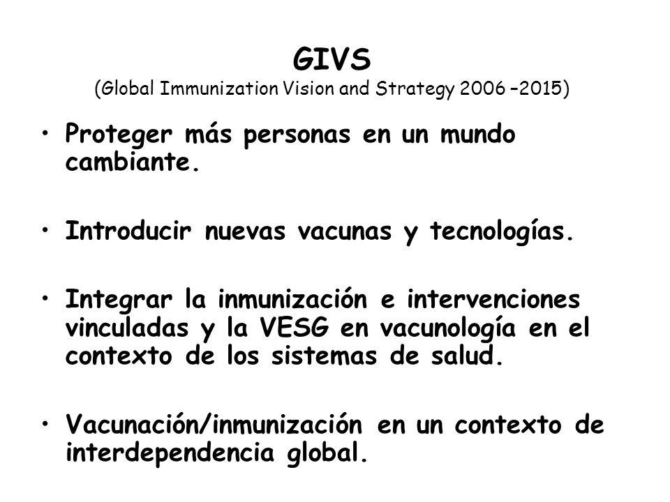 GIVS (Global Immunization Vision and Strategy 2006 –2015) Proteger más personas en un mundo cambiante. Introducir nuevas vacunas y tecnologías. Integr
