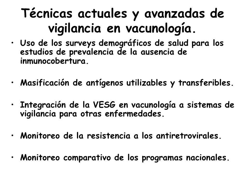 Técnicas actuales y avanzadas de vigilancia en vacunología. Uso de los surveys demográficos de salud para los estudios de prevalencia de la ausencia d
