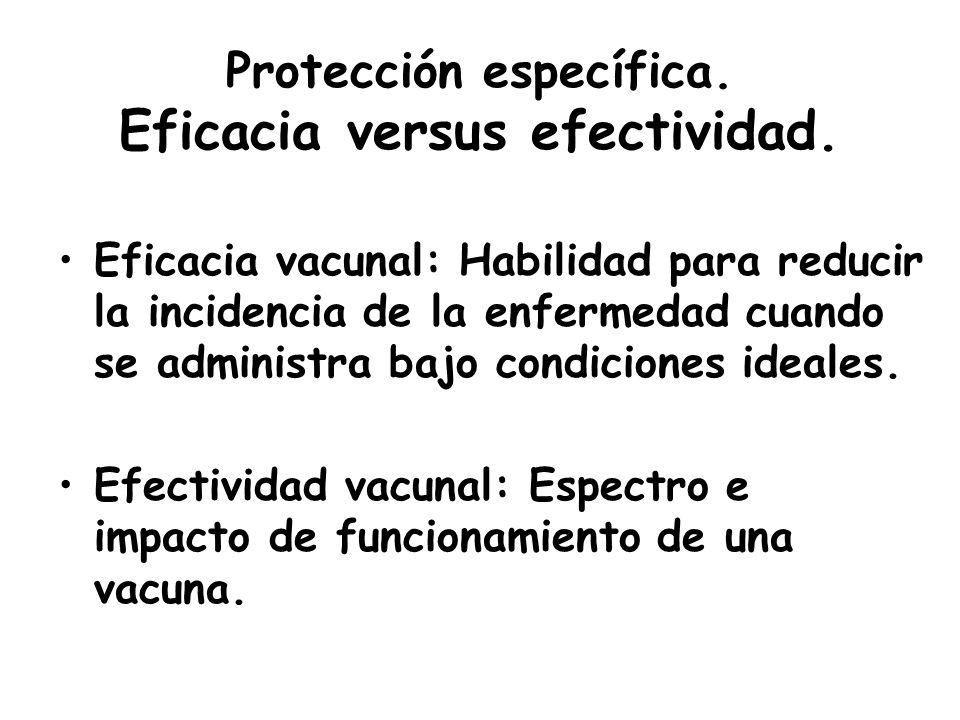 Protección específica. Eficacia versus efectividad. Eficacia vacunal: Habilidad para reducir la incidencia de la enfermedad cuando se administra bajo