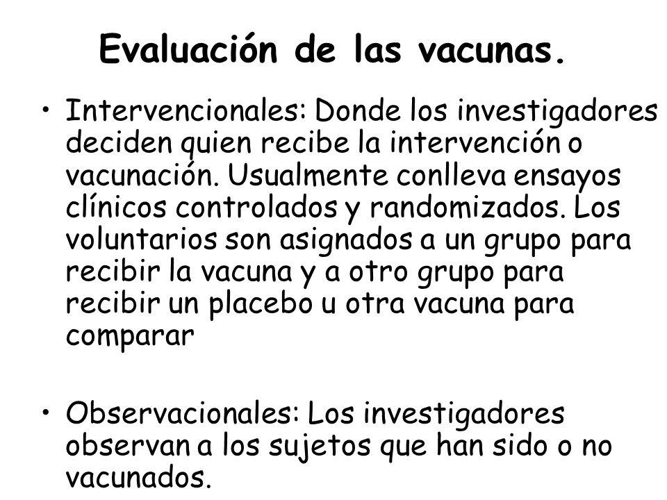 Evaluación de las vacunas. Intervencionales: Donde los investigadores deciden quien recibe la intervención o vacunación. Usualmente conlleva ensayos c