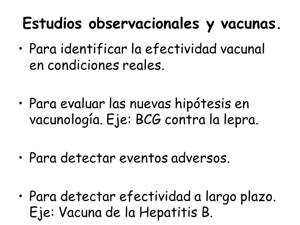 Estudios observacionales y vacunas. Para identificar la efectividad vacunal en condiciones reales. Para evaluar las nuevas hipótesis en vacunología. E