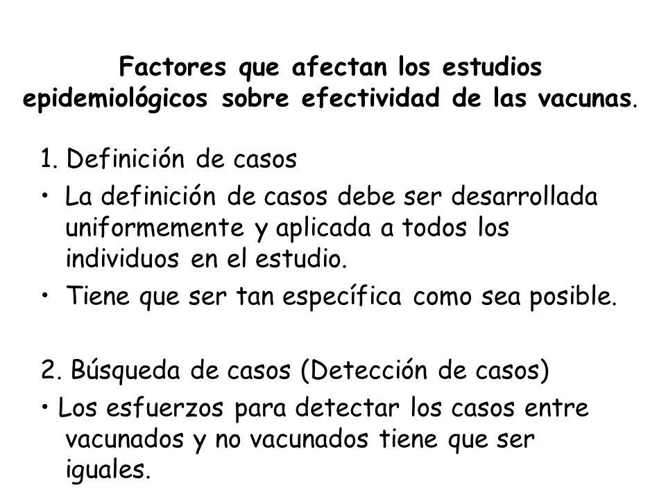 Factores que afectan los estudios epidemiológicos sobre efectividad de las vacunas. 1. Definición de casos La definición de casos debe ser desarrollad