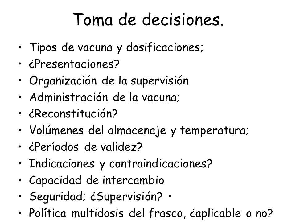 Toma de decisiones. Tipos de vacuna y dosificaciones; ¿Presentaciones? Organización de la supervisión Administración de la vacuna; ¿Reconstitución? Vo