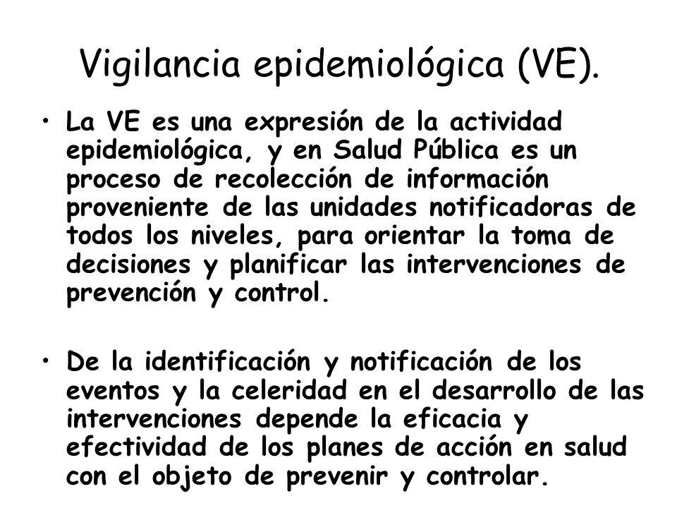 Vigilancia epidemiológica (VE). La VE es una expresión de la actividad epidemiológica, y en Salud Pública es un proceso de recolección de información