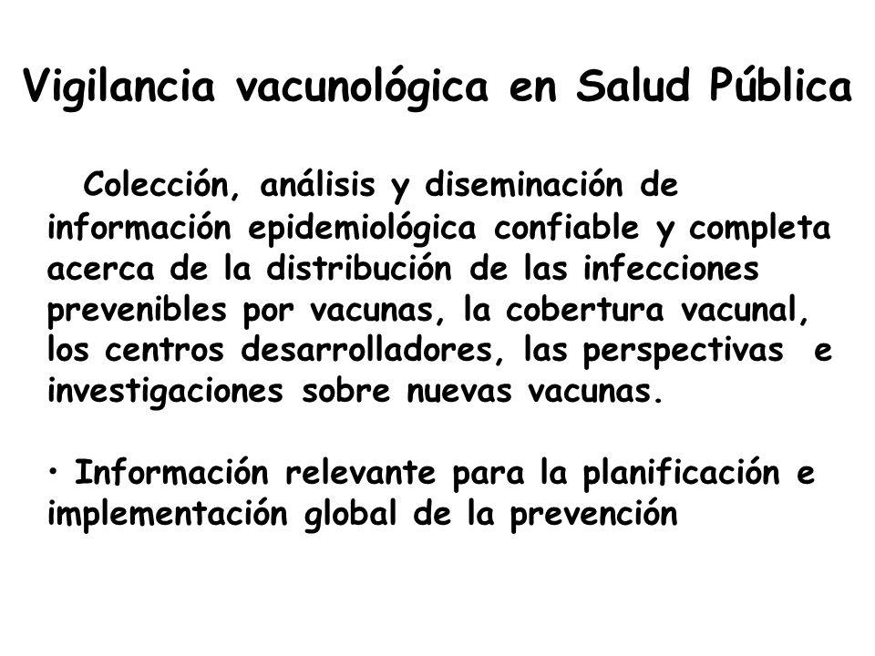 Vigilancia vacunológica en Salud Pública Colección, análisis y diseminación de información epidemiológica confiable y completa acerca de la distribuci
