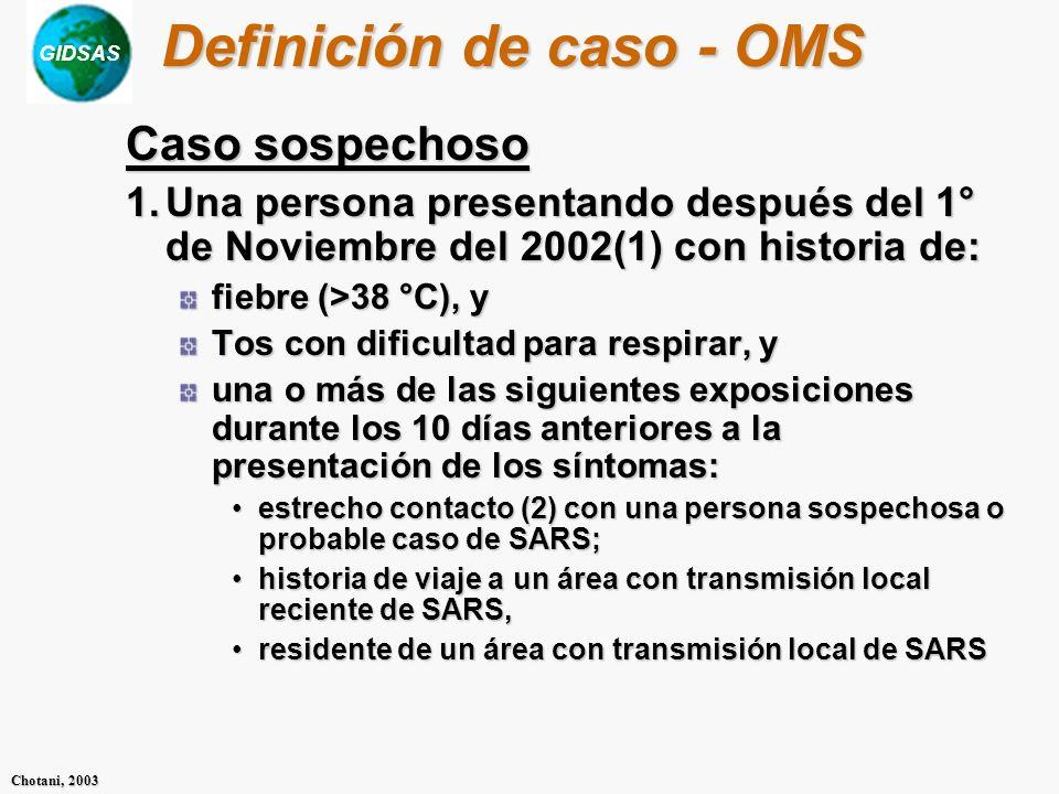 GIDSAS Chotani, 2003 Definición de caso - OMS Caso sospechoso 1.Una persona presentando después del 1° de Noviembre del 2002(1) con historia de: fiebre (>38 °C), y Tos con dificultad para respirar, y una o más de las siguientes exposiciones durante los 10 días anteriores a la presentación de los síntomas: estrecho contacto (2) con una persona sospechosa o probable caso de SARS;estrecho contacto (2) con una persona sospechosa o probable caso de SARS; historia de viaje a un área con transmisión local reciente de SARS,historia de viaje a un área con transmisión local reciente de SARS, residente de un área con transmisión local de SARSresidente de un área con transmisión local de SARS