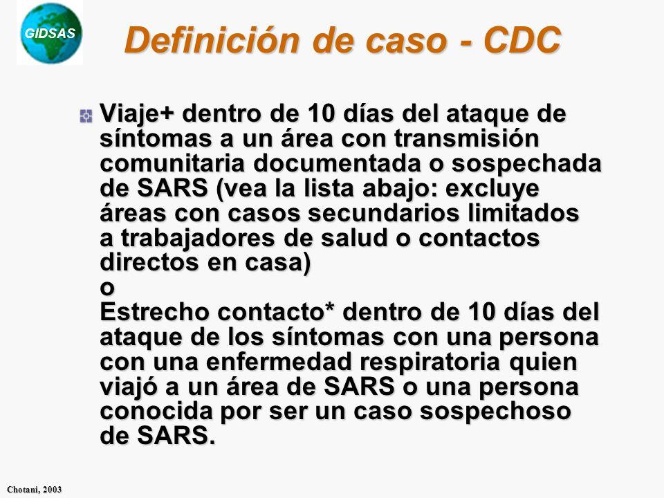 GIDSAS Chotani, 2003 Definición de caso - CDC Viaje+ dentro de 10 días del ataque de síntomas a un área con transmisión comunitaria documentada o sospechada de SARS (vea la lista abajo: excluye áreas con casos secundarios limitados a trabajadores de salud o contactos directos en casa) o Estrecho contacto* dentro de 10 días del ataque de los síntomas con una persona con una enfermedad respiratoria quien viajó a un área de SARS o una persona conocida por ser un caso sospechoso de SARS.