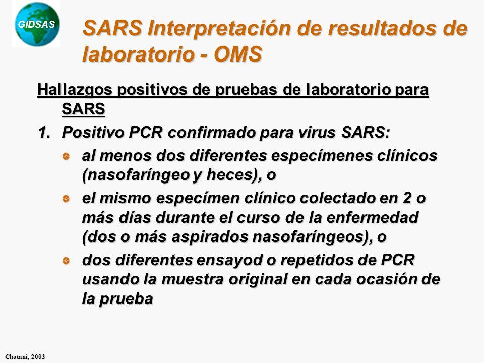 GIDSAS Chotani, 2003 SARS Interpretación de resultados de laboratorio - OMS Hallazgos positivos de pruebas de laboratorio para SARS 1.Positivo PCR confirmado para virus SARS: al menos dos diferentes especímenes clínicos (nasofaríngeo y heces), o el mismo especímen clínico colectado en 2 o más días durante el curso de la enfermedad (dos o más aspirados nasofaríngeos), o dos diferentes ensayod o repetidos de PCR usando la muestra original en cada ocasión de la prueba