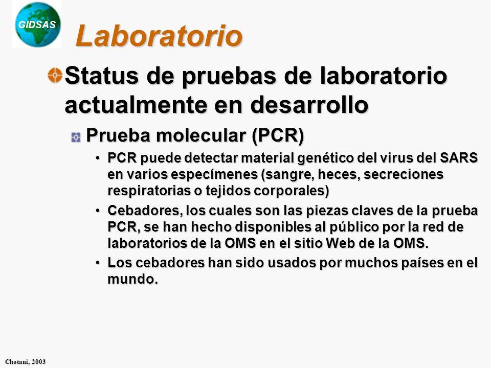 GIDSAS Chotani, 2003 Laboratorio Status de pruebas de laboratorio actualmente en desarrollo Prueba molecular (PCR) PCR puede detectar material genético del virus del SARS en varios especímenes (sangre, heces, secreciones respiratorias o tejidos corporales)PCR puede detectar material genético del virus del SARS en varios especímenes (sangre, heces, secreciones respiratorias o tejidos corporales) Cebadores, los cuales son las piezas claves de la prueba PCR, se han hecho disponibles al público por la red de laboratorios de la OMS en el sitio Web de la OMS.Cebadores, los cuales son las piezas claves de la prueba PCR, se han hecho disponibles al público por la red de laboratorios de la OMS en el sitio Web de la OMS.
