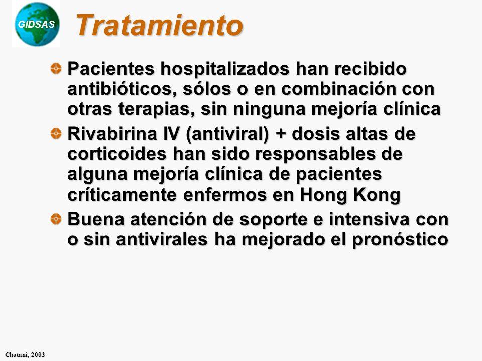 GIDSAS Chotani, 2003 Tratamiento Pacientes hospitalizados han recibido antibióticos, sólos o en combinación con otras terapias, sin ninguna mejoría cl