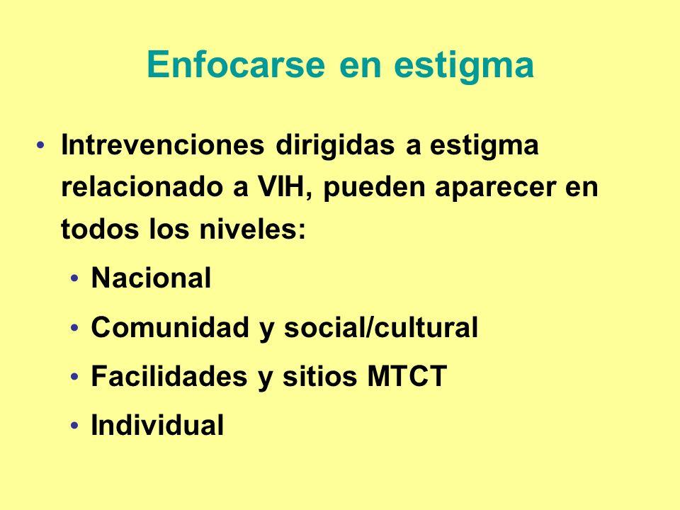 Enfocarse en estigma Intrevenciones dirigidas a estigma relacionado a VIH, pueden aparecer en todos los niveles: Nacional Comunidad y social/cultural