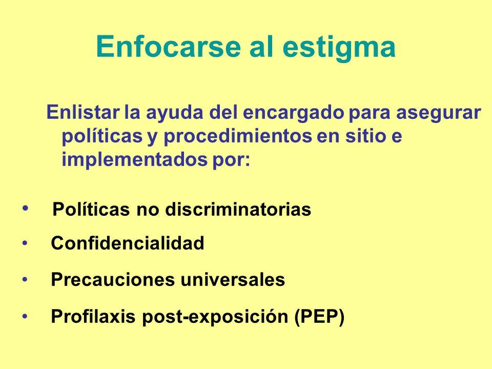 Enfocarse al estigma Enlistar la ayuda del encargado para asegurar políticas y procedimientos en sitio e implementados por: Políticas no discriminator