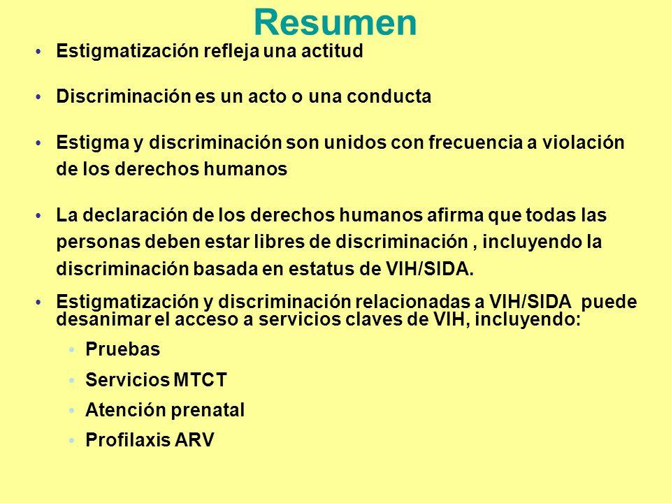 Resumen Estigmatización refleja una actitud Discriminación es un acto o una conducta Estigma y discriminación son unidos con frecuencia a violación de