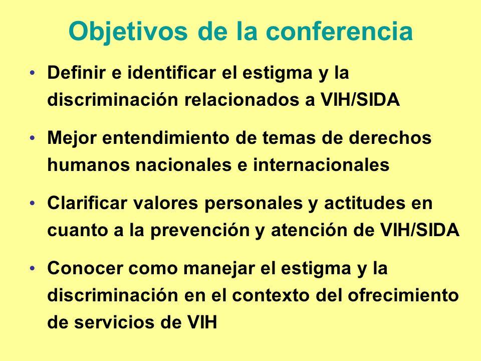 Objetivos de la conferencia Definir e identificar el estigma y la discriminación relacionados a VIH/SIDA Mejor entendimiento de temas de derechos huma