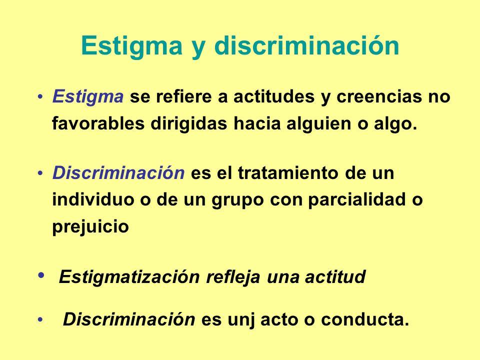 Estigma y discriminación Estigma se refiere a actitudes y creencias no favorables dirigidas hacia alguien o algo. Discriminación es el tratamiento de