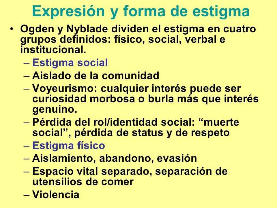 Expresión y forma de estigma Ogden y Nyblade dividen el estigma en cuatro grupos definidos: físico, social, verbal e institucional. –Estigma social –A