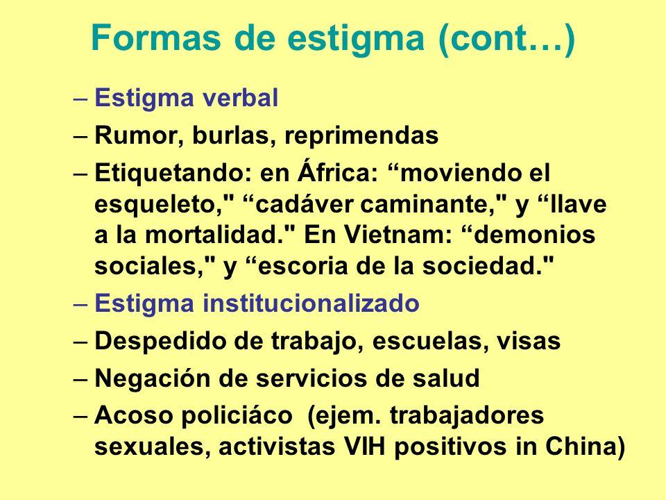 Formas de estigma (cont…) –Estigma verbal –Rumor, burlas, reprimendas –Etiquetando: en África: moviendo el esqueleto,