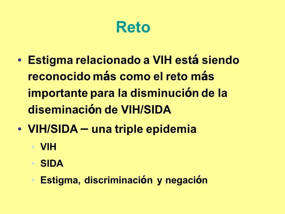 Reto Estigma relacionado a VIH est á siendo reconocido m á s como el reto m á s importante para la disminuci ó n de la diseminaci ó n de VIH/SIDA VIH/
