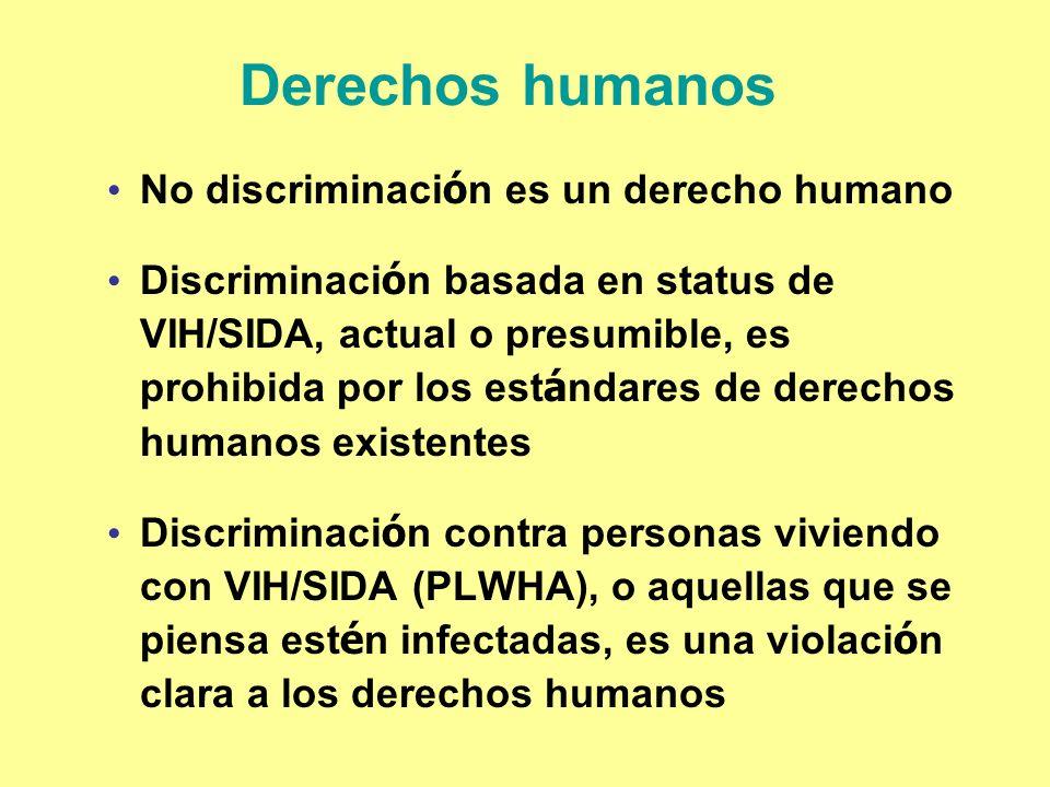 Derechos humanos No discriminaci ó n es un derecho humano Discriminaci ó n basada en status de VIH/SIDA, actual o presumible, es prohibida por los est