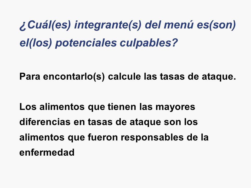 ¿ Cuál(es) integrante(s) del menú es(son) el(los) potenciales culpables? Para encontarlo(s) calcule las tasas de ataque. Los alimentos que tienen las
