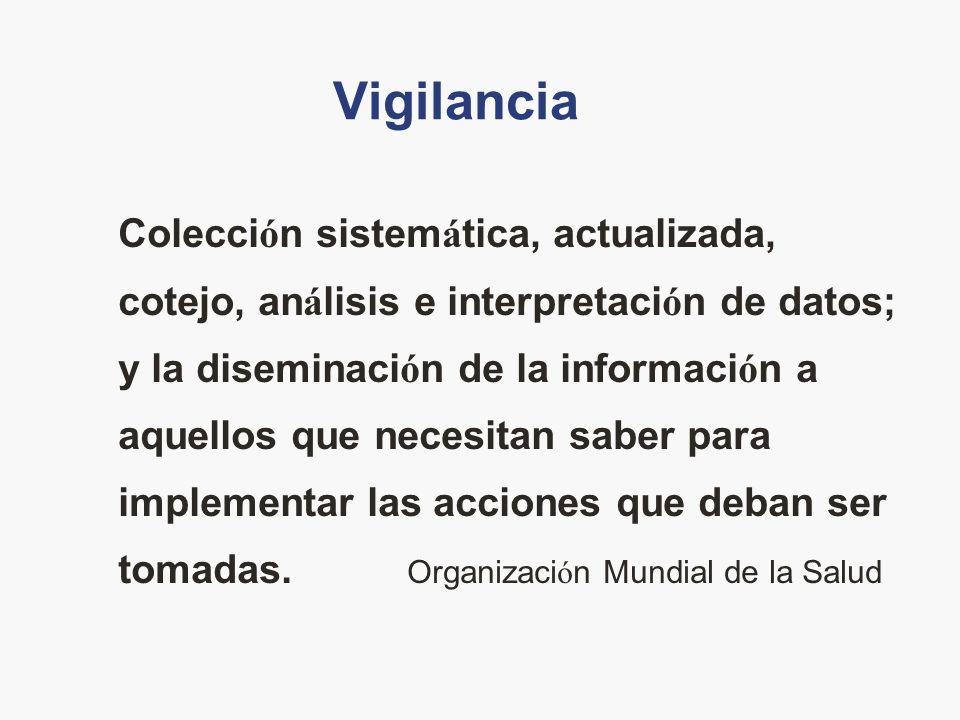 Vigilancia Colecci ó n sistem á tica, actualizada, cotejo, an á lisis e interpretaci ó n de datos; y la diseminaci ó n de la informaci ó n a aquellos