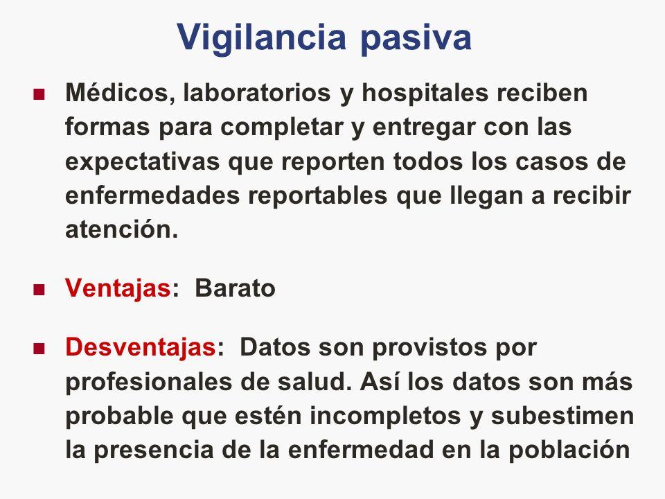 Vigilancia pasiva Médicos, laboratorios y hospitales reciben formas para completar y entregar con las expectativas que reporten todos los casos de enf