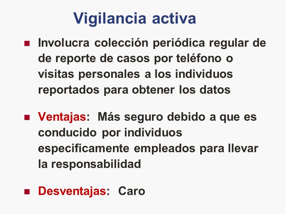 Vigilancia activa Involucra colección periódica regular de de reporte de casos por teléfono o visitas personales a los individuos reportados para obte