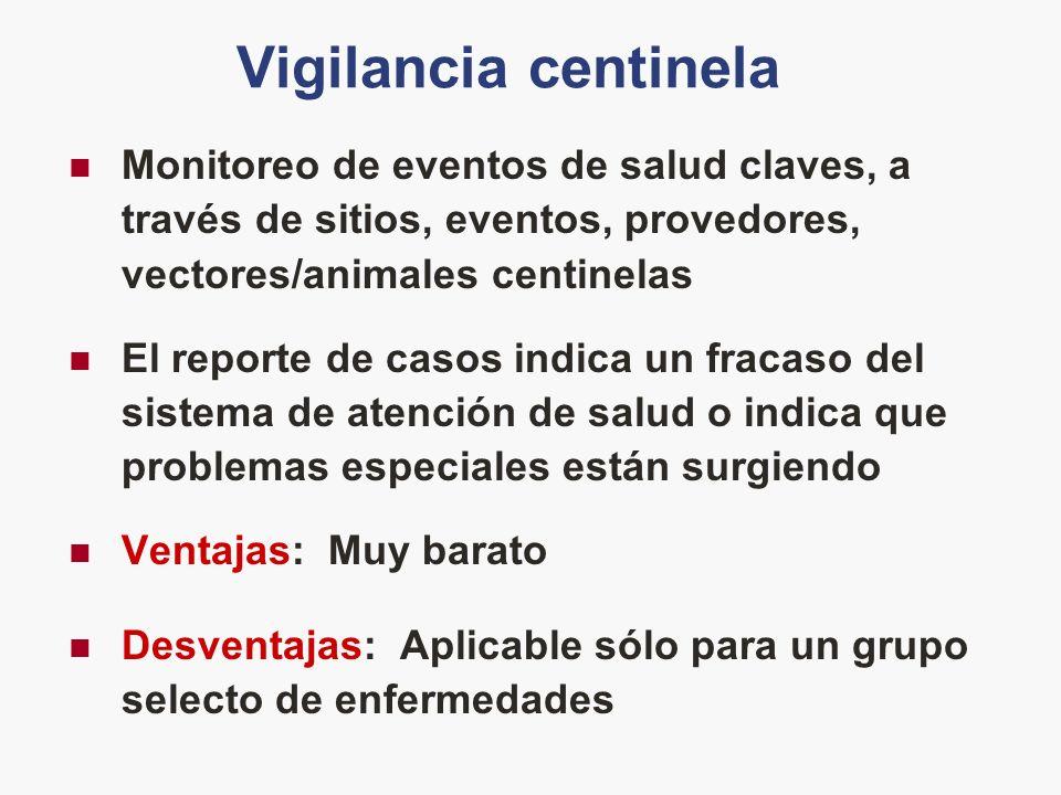Vigilancia centinela Monitoreo de eventos de salud claves, a través de sitios, eventos, provedores, vectores/animales centinelas El reporte de casos i