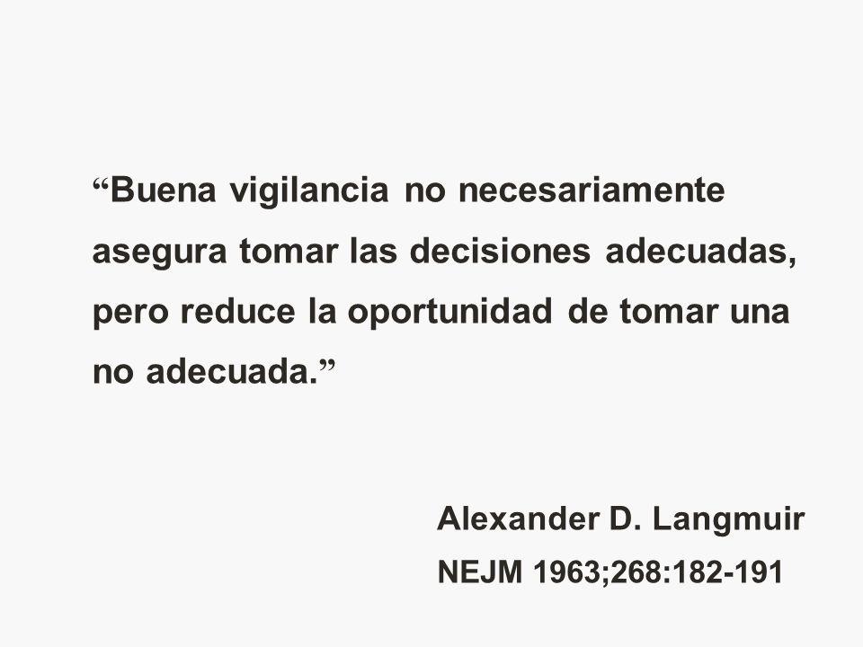 Buena vigilancia no necesariamente asegura tomar las decisiones adecuadas, pero reduce la oportunidad de tomar una no adecuada. Alexander D. Langmuir