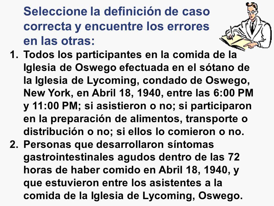 Seleccione la definición de caso correcta y encuentre los errores en las otras: 1.Todos los participantes en la comida de la Iglesia de Oswego efectua
