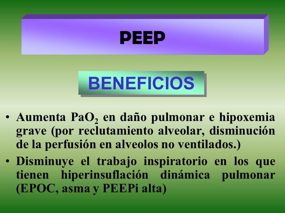 Aumenta PaO 2 en daño pulmonar e hipoxemia grave (por reclutamiento alveolar, disminución de la perfusión en alveolos no ventilados.) Disminuye el tra